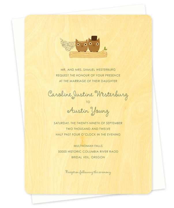Owl wedding invitations printed on wood