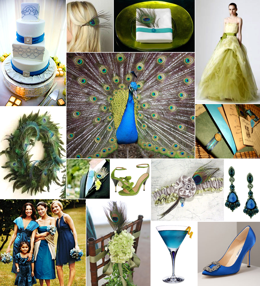 Blue and Green Peacock Wedding Theme
