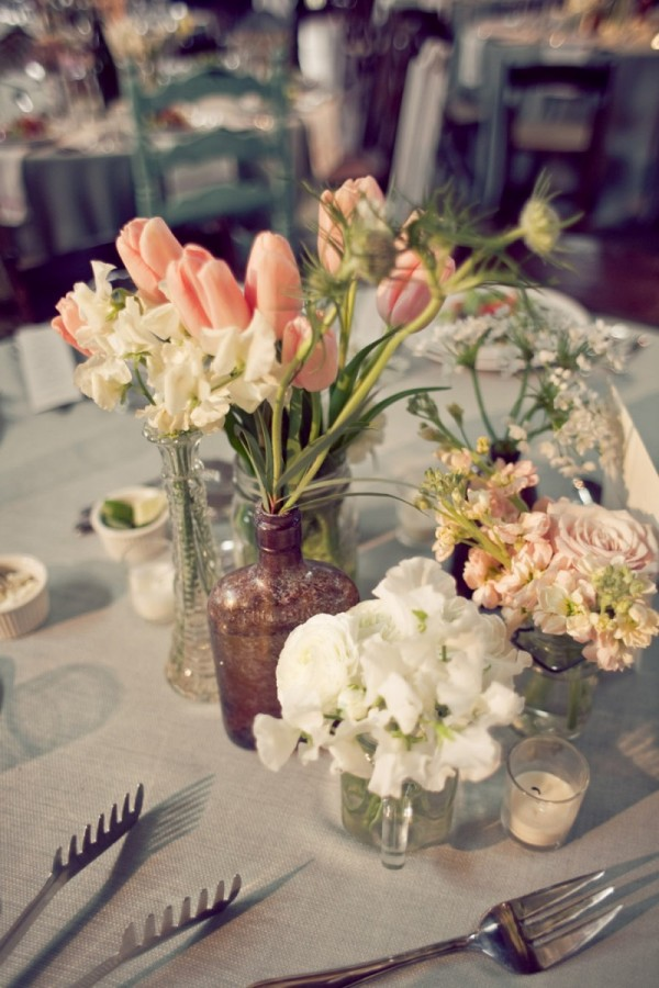 Tulip Centerpieces with Vintage Vase