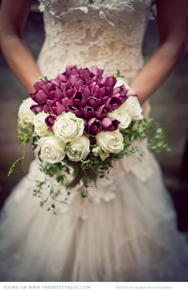 Red-purple tulip bouquet
