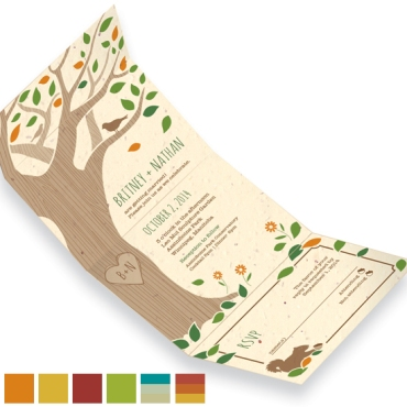 Rustic Tree Seal and Send Wedding Invitations