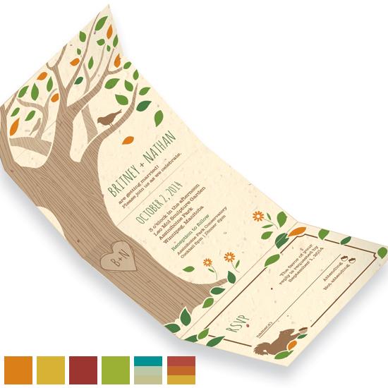 Rustic Tree Seal and Send Wedding Invitations