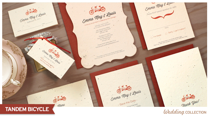 Tandem Bicycle Vintage Invitation Collection