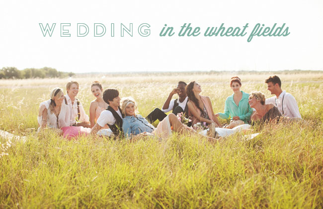 An adorable wheat field wedding